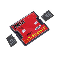 Wholesale tf cf adapter resale online - 2 Ports TF SDHC to Type I Compact Flash Card CF Reader Adapter Wholelsae