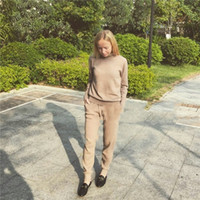 Wholesale Fashionable Women S Suits - 2017 Wool Full New Tracksuits Spring Cashmere Suits Female High-quality Fashionable High-necked Sweater + Pants Knitted 2 Sets