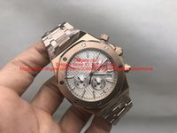 Wholesale Mens Watches Display Cases - AAA High Quality Quartz Chronograph Mens Watches Wristwatch Original Watchband Rose Gold Stainless Steel Case White Dial With Date Display