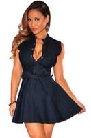 Wholesale Lady Jeans Belt - Summer Women Dark Denim dress Ladies Sleeveless Belted Skater jeans dress vestidos casual verano mujer 22161