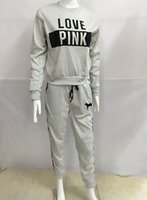 Wholesale warm grey hoodie - Winter Fleece Suite Women Autumn Warm Grey Pink Clothing Sets LOVE Printed Long Sleeved Hoodies Long Pants 2pcs Suits