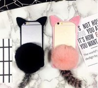 "Wholesale Cheap Cat Ears - New Cheap 3D Cartoon Cute Fur Ball koko cute Ear Cat Tail Silicon Soft Back Case Cover for iphone 6 6S iphone plus 5.5"" phone case DHL 50pcs"