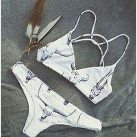Wholesale Cow Print Swimwear - 2016 Women's White Tau Cow Skull Print Sling Triangle Bikini Set Swimwear Swimsuit Biquini Summer Beach Bathing Suit S M L