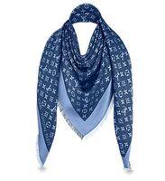 ingrosso pashminas blu-Denim Blue L Brand Check Sciarpa in lana di cashmere di cotone e cashmere Sciarpa a scialle avvolgente Pashmina 140x140cm