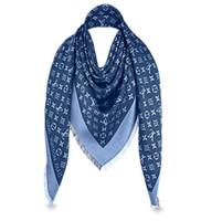 blauer paisley schal großhandel-Denim Blue L Brand Check Wolle Baumwolle Kaschmir Seidenschals Schal Wrap Pashmina 140x140cm