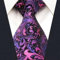 Wholesale Tie Dye Long - A11 Purple Floral Silk Handmade Jacquard Woven Wedding Fashion Classic Mens Necktie Tie extra long size