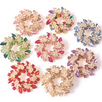 Wholesale Scarf Stoned - Wholesale Simulated Crystal Flower Brooches For Women Fashion Nature Stone Brooches Pins Vintage Bauhinia Scarves Buckle Pendants J1451