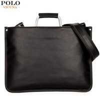 Wholesale Thin Cell Phones For Men - VICUNA POLO Ultra-thin Mens Briefcase with Hard Handle Lightweight Men Leather Bags For Laptop Classic Man sacoche homme marque