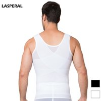 Wholesale Lose Weight Girdle - Wholesale-LASPERAL Mens Chest Shaper Tank Top Bodybuilding Corset Compression Lose Weight Vest Tummy Belly Girdle Shirt Shapewear Tops