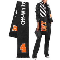 Wholesale Cotton Wide Shawls - fashion design Winter new ow scarf length 170cm wide 22cm weight 307 wool textile letter print off white black orange men women shawl