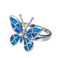 Wholesale Vintage Gold Fire Opal Ring - Female Butterfly Ring Fashion Blue Fire Opal Ring 925 Sterling Silver Filled Jewelry Vintage Wedding Rings For Women