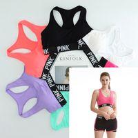 Wholesale Women Dry Fit Shirt - Pink Letter Sports Bra Jogging Yoga Shirts Pink Sport Bra Tops Dry Fit Fitness Vest Crop Top Sportwear Sexy Underwear for women lady girls
