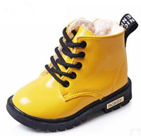 Wholesale Winter Rubber Boot Brands - New Winter Children Shoes PU Leather Waterproof Martin Boots Kids Snow Boots Brand Girls Boys Rubber Boots Fashion Sneakers