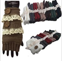 Wholesale Crochet Fingerless Gloves Wholesaler - Winter Gloves Warm Crochet Fitness Gloves Women Lace Button Wrist Warmer Ladies Soft White Fingerless Gloves Half Finger Glove KKA3143