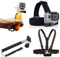 Wholesale Handheld Masks - 4K WI-FI ACTION CAMERA Accessories set Float Bobber Handheld Stick + Chest Belt + Head Strap For Go Hero4 pro hero3 sjcam SJ4000