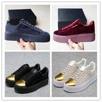 Wholesale White Flat Creepers Shoes - 2017 New Velvet Rihanna x Suede Creepers Rihanna Creeper Running Shoes Grey Red Black Women Men Fashion cheap Casual Shoes sneakers