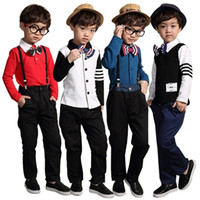 Wholesale Little Boys Suspenders - PrettyBaby Suspender Boys Clothing Set Little Boy Gentleman Suit with Bow Tie baby boy overalls set free shipping