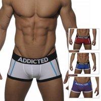 Wholesale Sexy Purple Undies - Spain ADD Men's U Convex Bag Boxers Cotton Undies Sexy Man Hipsters Gay Shorts Striped Underwear 4 Colors M L XL