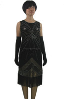Wholesale Flapper Dress Halloween Costume - Beaded Sequin Fringe Roaring 1920's 20s Flapper Great Gatsby Themed Design Party Halloween Even Dresses Clothing Costumes Outfit
