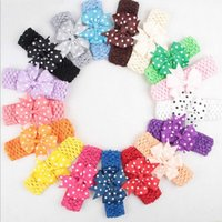 Wholesale Crocheted Elastic - 50 pcs 24Colors baby Headwear Head Flower Hair Accessories Polka dots bow knot satin with soft Elastic crochet headbands stretchy hair band