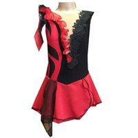 Nuova Collezione maniche viola Red Ice Skating Dress Spandex su ordine 100% vestito da alta qualità increspature Ice Danza