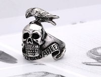 Wholesale Ring Bird Skull - Titanium Steel Skull Bird Ring Punk Cool Style For Men Fashion Jewelry New Whosale European Design