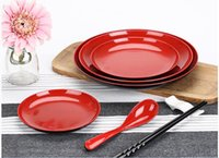 Wholesale Melamine Dinner - Wholesale-10pcs lot Melamine Dinner Plate Dishes Red and Black Unbreakable NEW