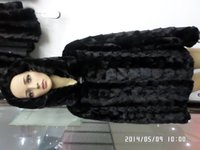 Wholesale Mink Furs Coats - Wholesale-Horizontal lines and vertical stripes minks head of long black fur coat with hat