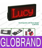 Wholesale Usb Led Badge - Scrolling LED Badge USB Rechargeable Card Mini Board Name Badge Red 11*33T Pixel 80*30*5mm taking on upper clothes and T-shirt GLO607