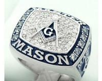 kadife halka kutuları toptan satış-Yeni varış muhteşem mavi lodge masonik şampiyonluk yüzük kadife yüzük kutusu ve ücretsiz ekspres kargo ile