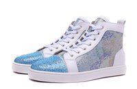 Wholesale Colorful Mens High Top Shoes - New 2017 Mens Womens Blue Rhinestone Toe with Colorful Leather Sneakers,Couples Brand High Top Casual Sports Shoes 36-46