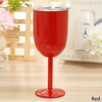 Wholesale Stainless Steel Whisky - 201-300ml Stainless Steel Wine Glass 9 colors Double Wall Insulated Metal Goblet Juice Red Wine Whisky Drinkware Mugs