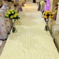 Wholesale Rose Table Runners - 33 Feet Long 55 Inch Wide Milk White 3D Rose Petal Aisle Runner Carpet For Wedding Centerpieces Decoration Shooting Prop free shipping