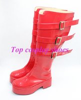 Wholesale Perona One Piece Costume - Wholesale-One Piece Perona Cosplay Shoes Boots red version 2 #TS110 Custom made