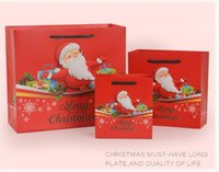 3 tamanhos 20pcs Grande Red Xmas Papai Noel Shopping Gift Party Pack Bags Feliz Natal Kraft Paper com Handle Gift Bag