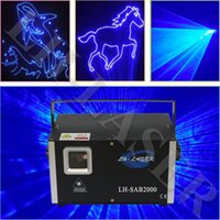 Wholesale Sound Activated Laser Lights - LH-SAB2000 DMX512 + ILDA Interface +Auto+Sound 2W Single Blue color animation logo laser light show party lights laser projector