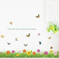 Wholesale Reusable Wall Stickers - Green Decorative Wall Tile Stickers PVC Removable Plane Plant Animal Landscape Decal Reusable Pastoral Wall Stickers Home Decor