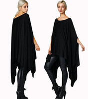 Wholesale Polyester Poncho Plus Size - New 2016 Womens T Shirts Sexy Oversized Asymmetric Tunic Poncho Cape Casual Top For Women Batwing Sleeve irregular Loose t-shirt