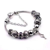 Wholesale Black Crystal Beads Fit Bracelet - 2017 Diy Bracelet Charms Bracelets Glass&Crystal European Charm Beads Fits Charm bracelets Style Bracelets 18-20CM Black