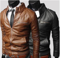 Wholesale Winter Men slim stand collar washed Motorcycle Fit PU Leather Jacket Male Coat Outerwear Colors Plus Size M XXXL
