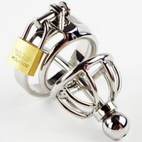 Wholesale Male Sex Slaves - Stainless Steel Chastity Devices for Men Male Chastity Cock Cage Sex Slave Penis Lock with Removable Urethral Sounding Catheter