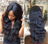 Wholesale Silk Top Human Wigs - Brazilian Human Hair Silk Base Full Lace Wigs Natural Color Body Wave 4*4 Silk Top Lace Front Wig Natural Hairline Silk Top Wig