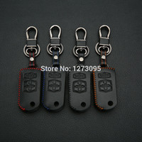 Wholesale Stitch Car Covers - Hand Stitched Leather Car Key Case Cover Mazda 2 Mazda 3 Mazda 5 Mazda 6 Mazda 8 4 Buttons Folding Key Fob Keychain