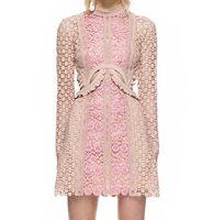 renk blok bodycon elbise toptan satış-Yeni tasarım moda kadın seksi standı yaka uzun kollu renk blok dantel çiçek ruffles oymak patchwork elbise artı boyutu Sml