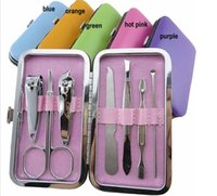 Wholesale 7pcs Manicure Set Nail Care Clippers Scissors Travel Grooming Kits Case