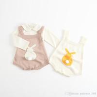 modèles de barboteuse pour bébés achat en gros de-2017 INS nouveaux arrivants bébé enfants escalade barboteuse Cartoon lapin motif sans manches couleur unie chaud gilet de haute qualité coton barboteuse livraison gratuite