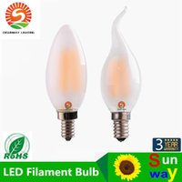 Wholesale E12 Frosted - C35 C35T 4W 6W,Retro LED Filament Bulb,Frosted Candle Bulb,E12 E14 Base,Warm White,Chandelier Decorative Lighting,Dimmable