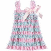 Wholesale Tiered Ruffle Sundress - Baby Girls Lace Dresses Infant Ruffle Tiered Dress Newborn Bowknot Birthday Party Princess Dress Toddler Casual Sundress