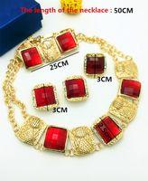 Wholesale Costume Jewelry Pearl Set - wholesale Nigerian Wedding African Beads Jewelry Sets Fashion Women Dubai Gold Plated Jewelry Set Wholesale Costume