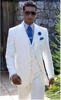 Wholesale Beach Wedding Men Suits - Beach Linen White Men Wedding Suits Casual Notched Lapel Groom Tuxedo Men Slim Fit jacket+pant+vest+tie perfume masculino